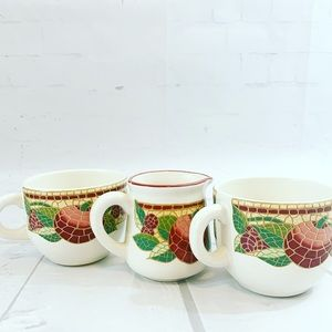 PIER 1 Mosaic Fruit 2 Cups and 1 Creamer Set